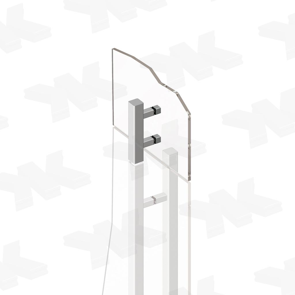 Lock counter-case, angular 35 x 35 mm, stainless steel AISI 304