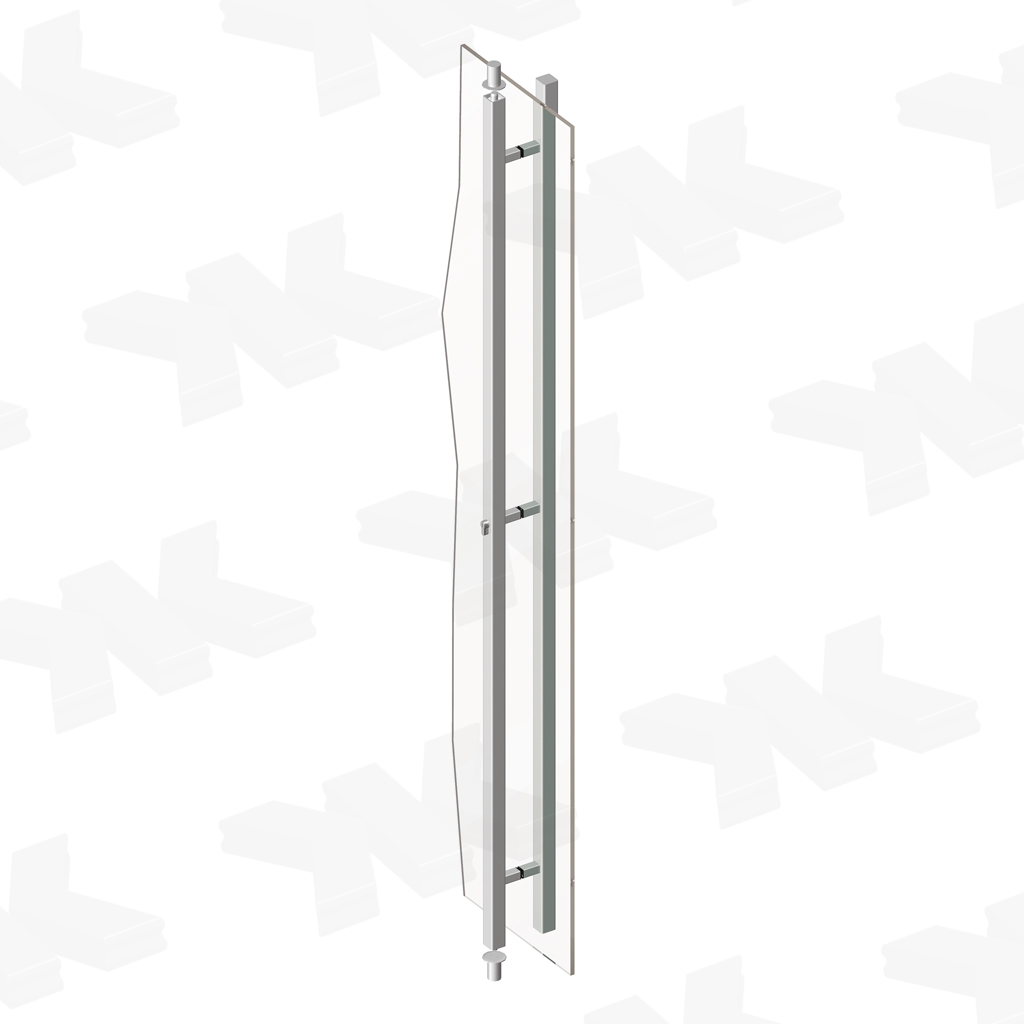 Pull handle one-sided lockable long, 35 x 35 mm, stainless steel AISI 304