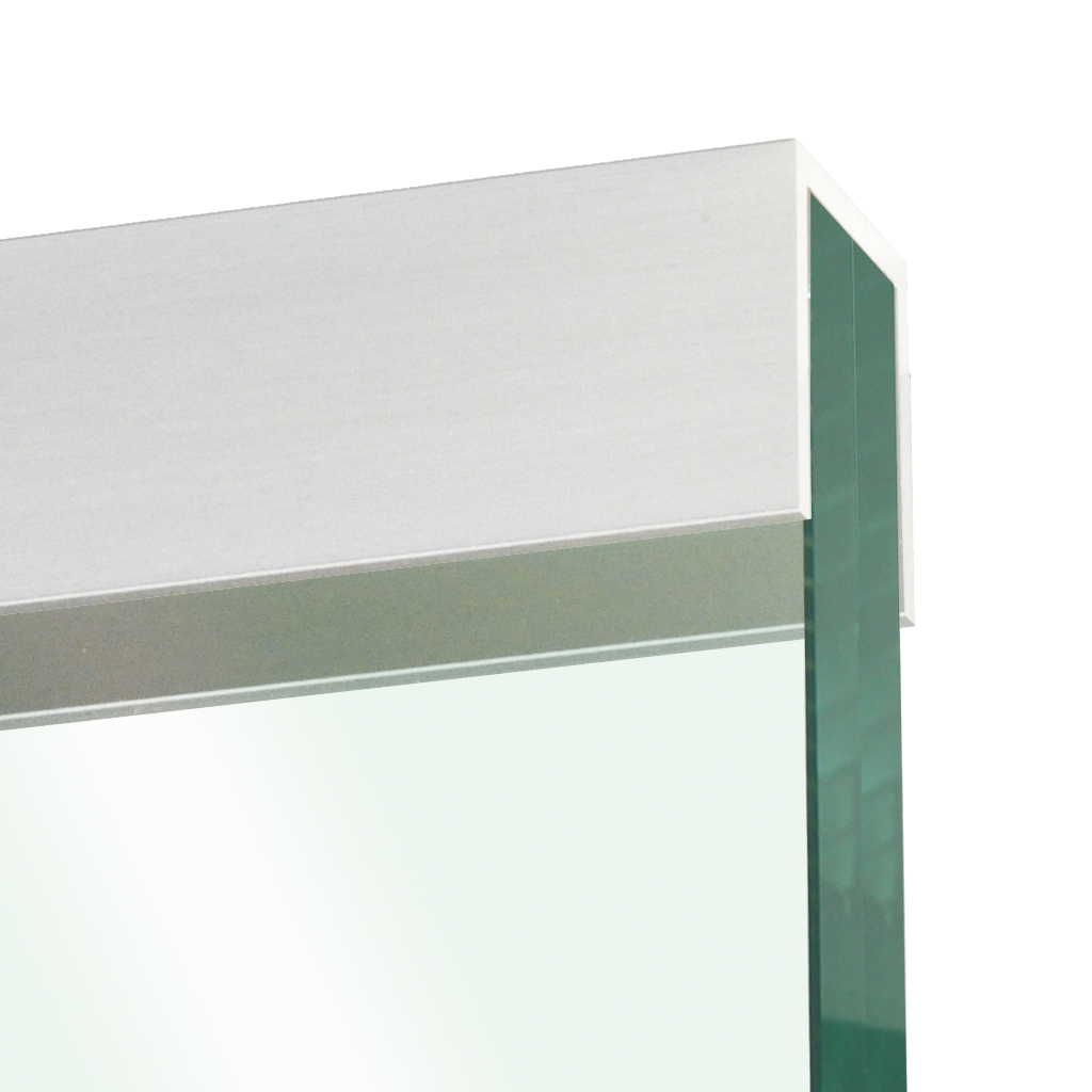 Glass edge protection profile 10x22x10x2mm, stainless steel effect
