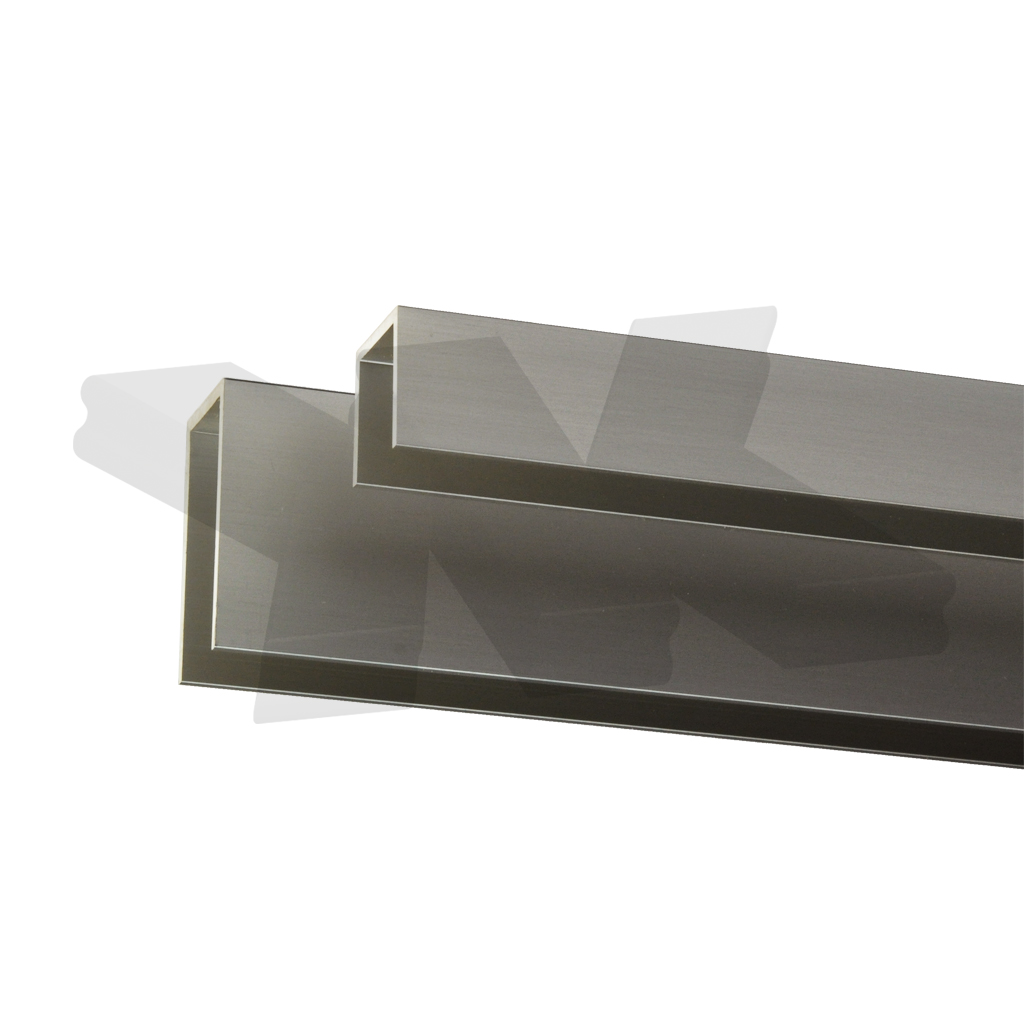 Glass edge protection profile 20x26x20x2mm, stainless steel effect