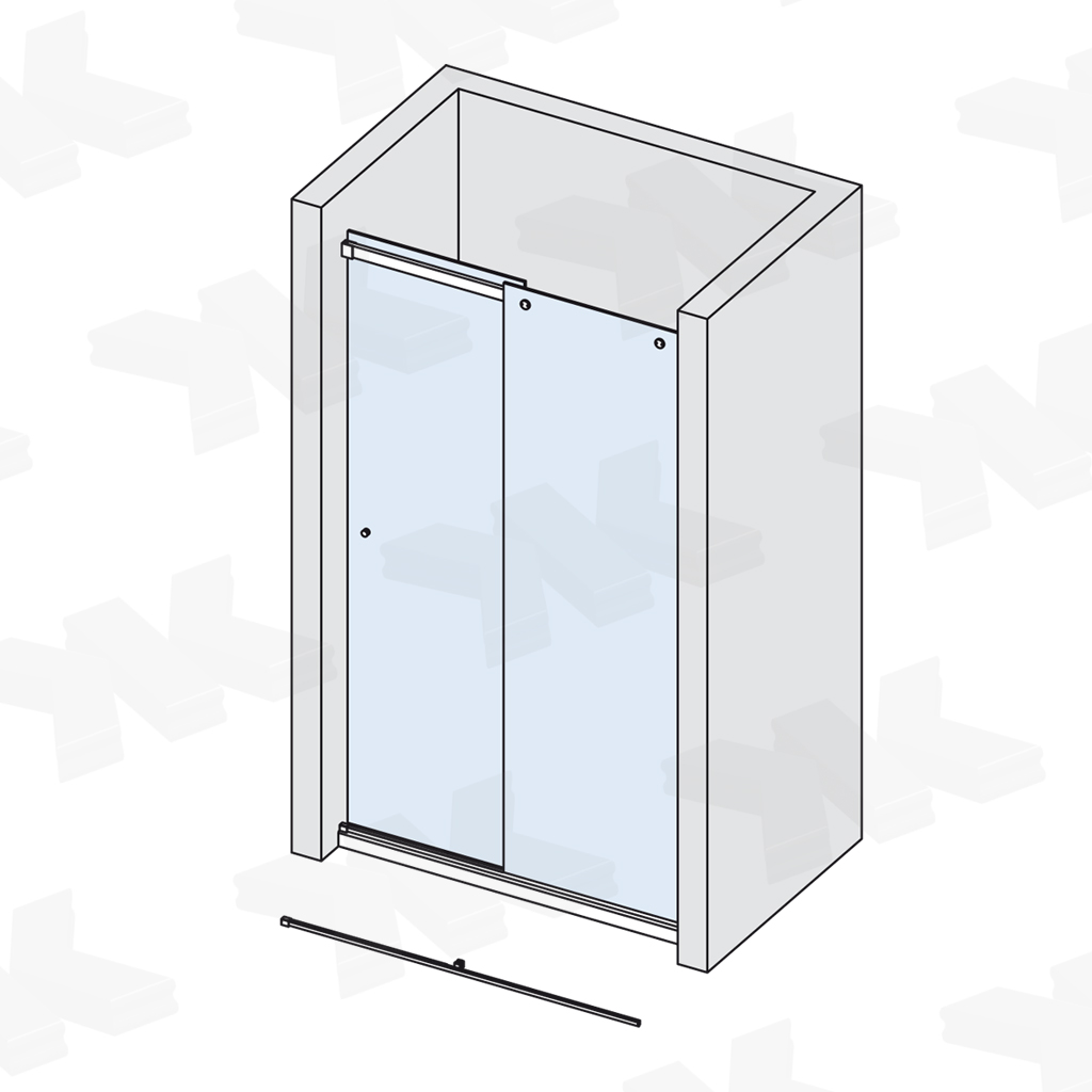 Niche shower, track length 1500 mm