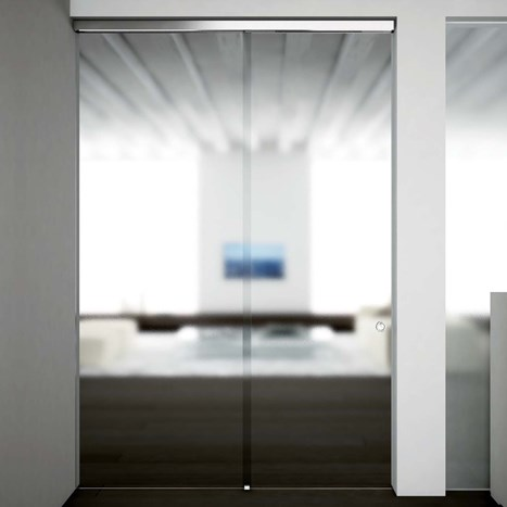 V-5403 - ceiling / wall, sliding door set with fixed glass support profile